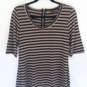 womens striped zipper back top size L